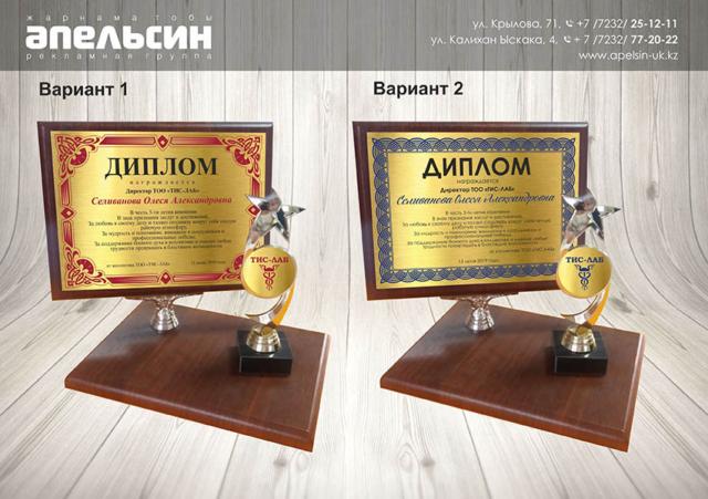 диплом на плакетке на заказ усть-каменогорск